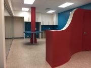 Red & Blue Office Break Room
